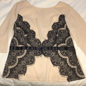 Cream and black lace blouse